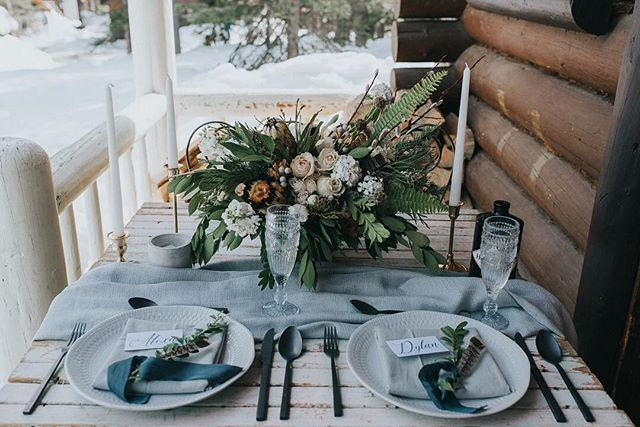 The most perfect table set for two! The first preview shots from this luxe cabin elopement are seriously making me want to run away to the mountains 😍💕💕 Photography: @ginger_snap_photo. Planning & Concept: @kismetandclover. Florals: @antheiafloralyyc. Venue: @storm_mountain_lodge. Decor & Vintage Rentals: @gatheredtablesupply & @cd.vintage.rentals. Gown: @nrtfashions. Hair & Makeup: @_katielynnkerr. Menswear: @espyexperience. Stationary Design: @pinkumbrellainvites. Cakes & Sweets: @handmadecakecompany