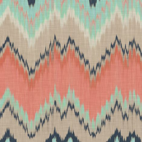 Coral Mint and Navy Ikat Chevron.jpg