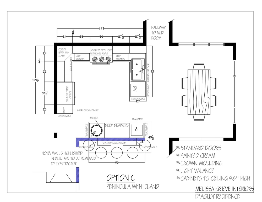 kitchen design plan option c