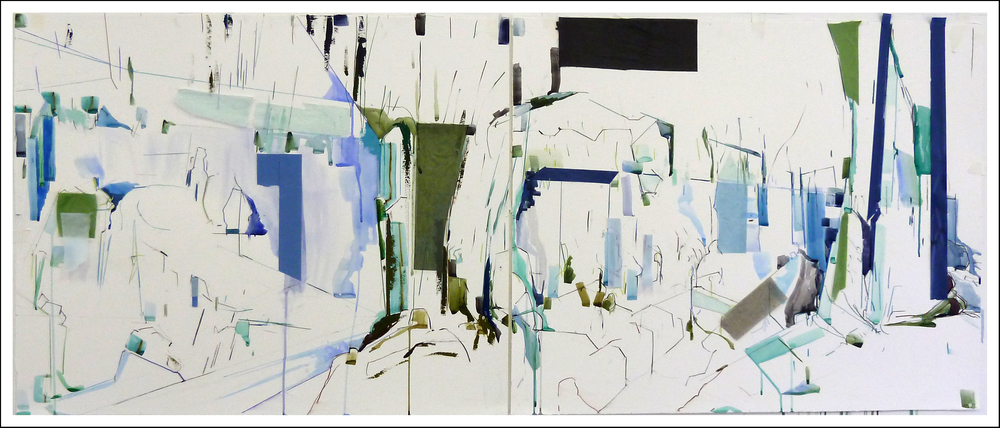 "25° 00' 00"" S  25° 00' 00"" W Water I  , 2011 Mixed-media on paper (29.5  inches  x 72  inches)"