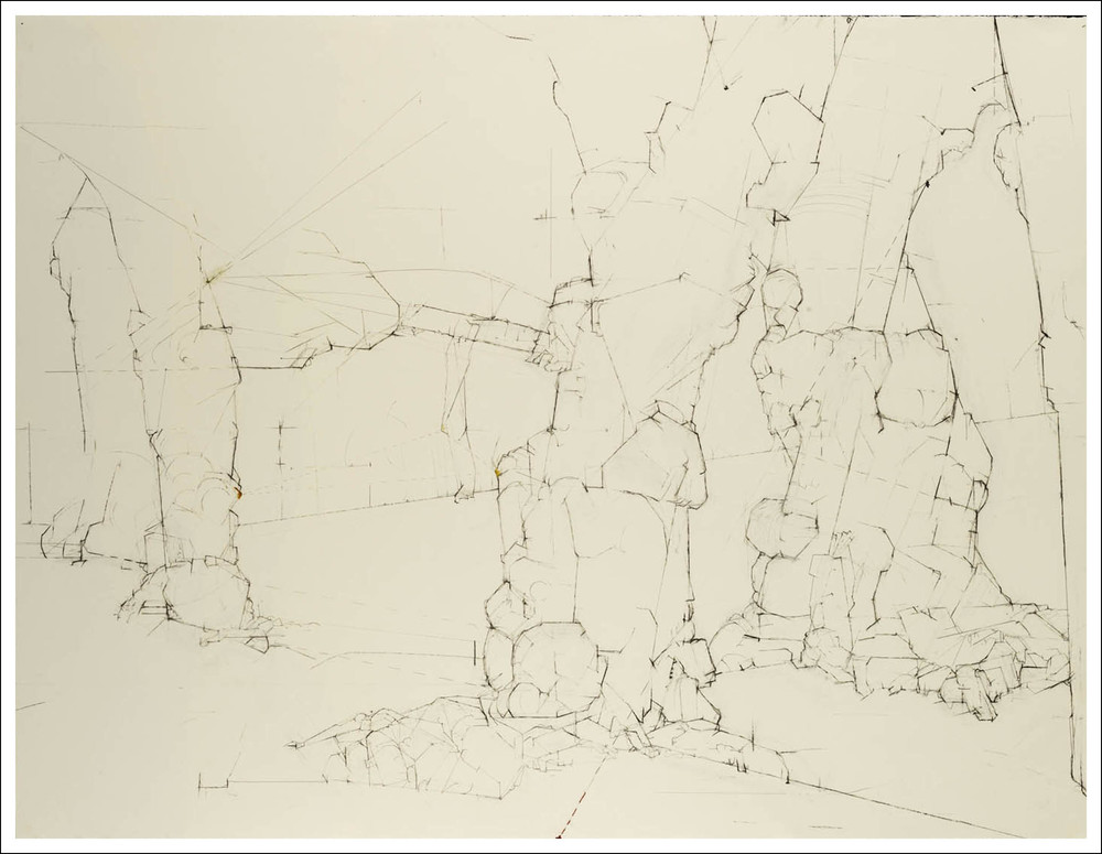 "Prunus Yedoensis  (236°) 40° 47' 00.6"" N 073° 57' 35.1"" W,   2006, Charcoal, pencil on paper (38.25 inches x 50 inches) SOLD"