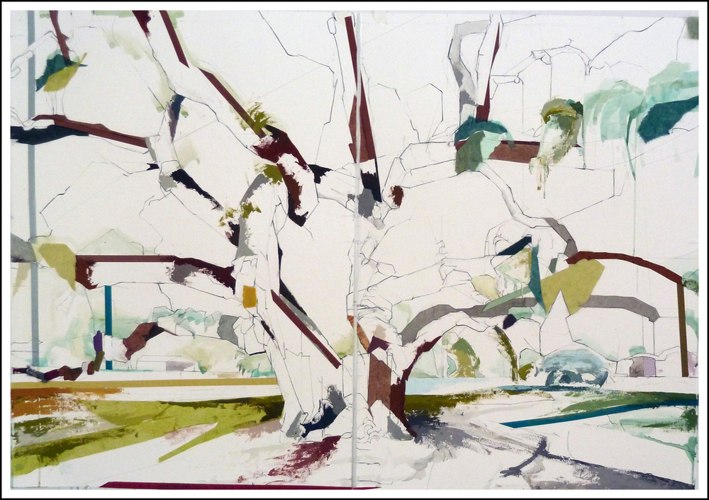 "29°59'16.6""N  97°52'46.9""  Kyle Auction Oak II Diptych,  2014     SOLD (30 inches x 44 inches) Mixed-media on paper"