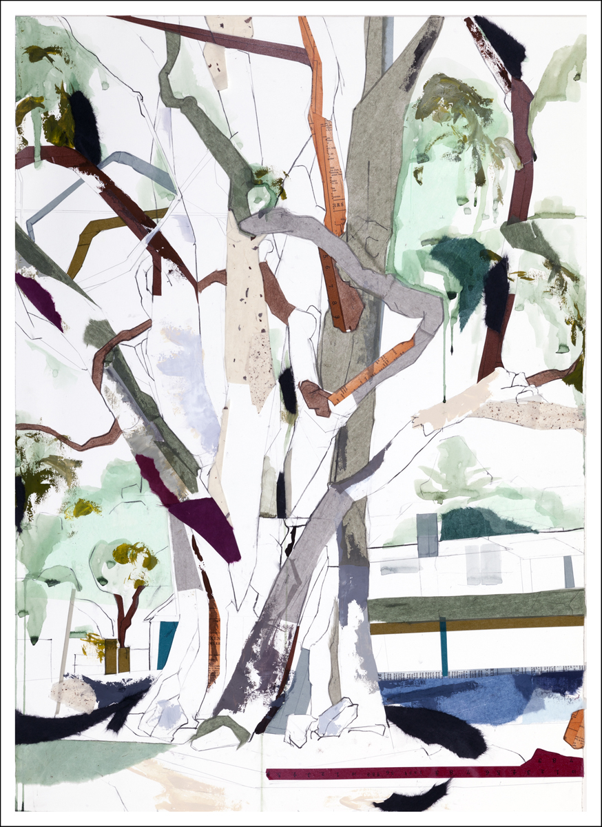 "36° 33'19.01""N  121°55'40.53""W  Eucalyptus Carmel I, 2016    (41.25 inches x 30 inches) Mixed-media on paper"