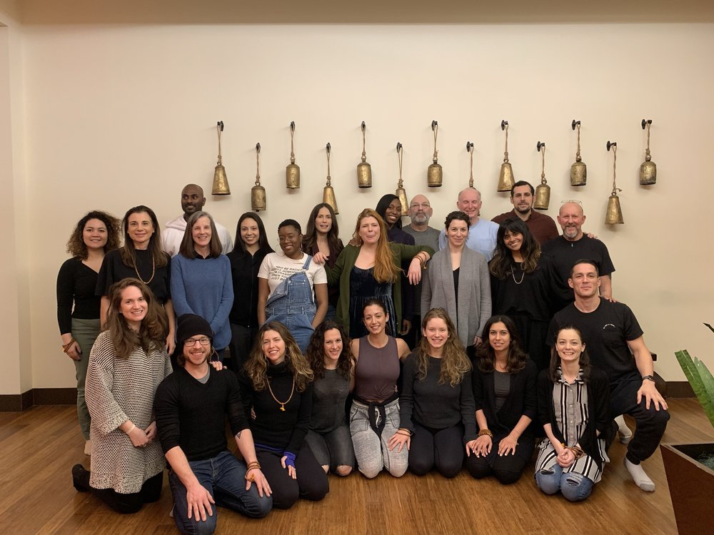 Our January 2019 Teacher Training students, on graduation day with our beloved Nalanda teachers!