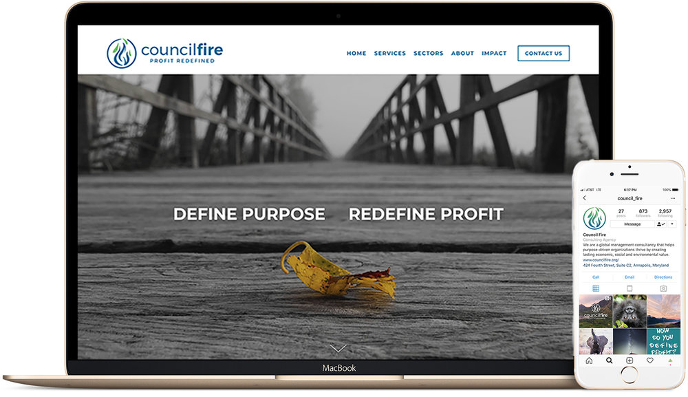 COUNCIL FIRE - A global management consultancy that helps purpose-driven organizations thrive by creating lasting economic, social and environmental value - We led a rebranding campaign implementing a web redesign, social strategy, SEO & analytics management.