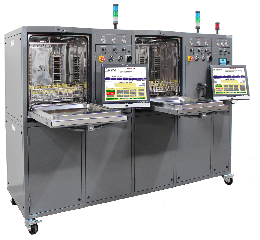 Trident ZDO-DUO Two-Chambered Cleaning and Cleanliness Verification System. Shown with optional status light bar, casters, and barcode scanner