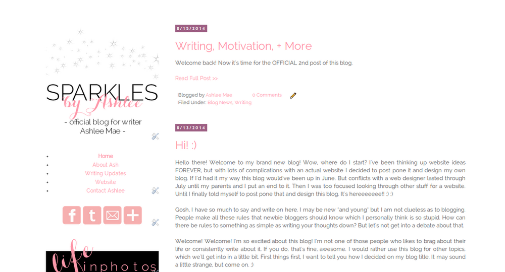 This was my first ever blog on Blogger. Originally, it was just created until I got a website. This was one of my favorite past designs.