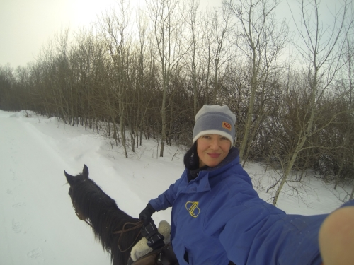Riding in the cold in Saskatchewan and not to worry, one of the only times I have ever rode without a helmet.
