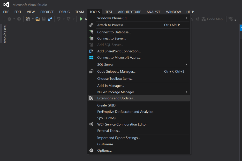 In Visual Studio, go to Tools -> Extensions and Updates.