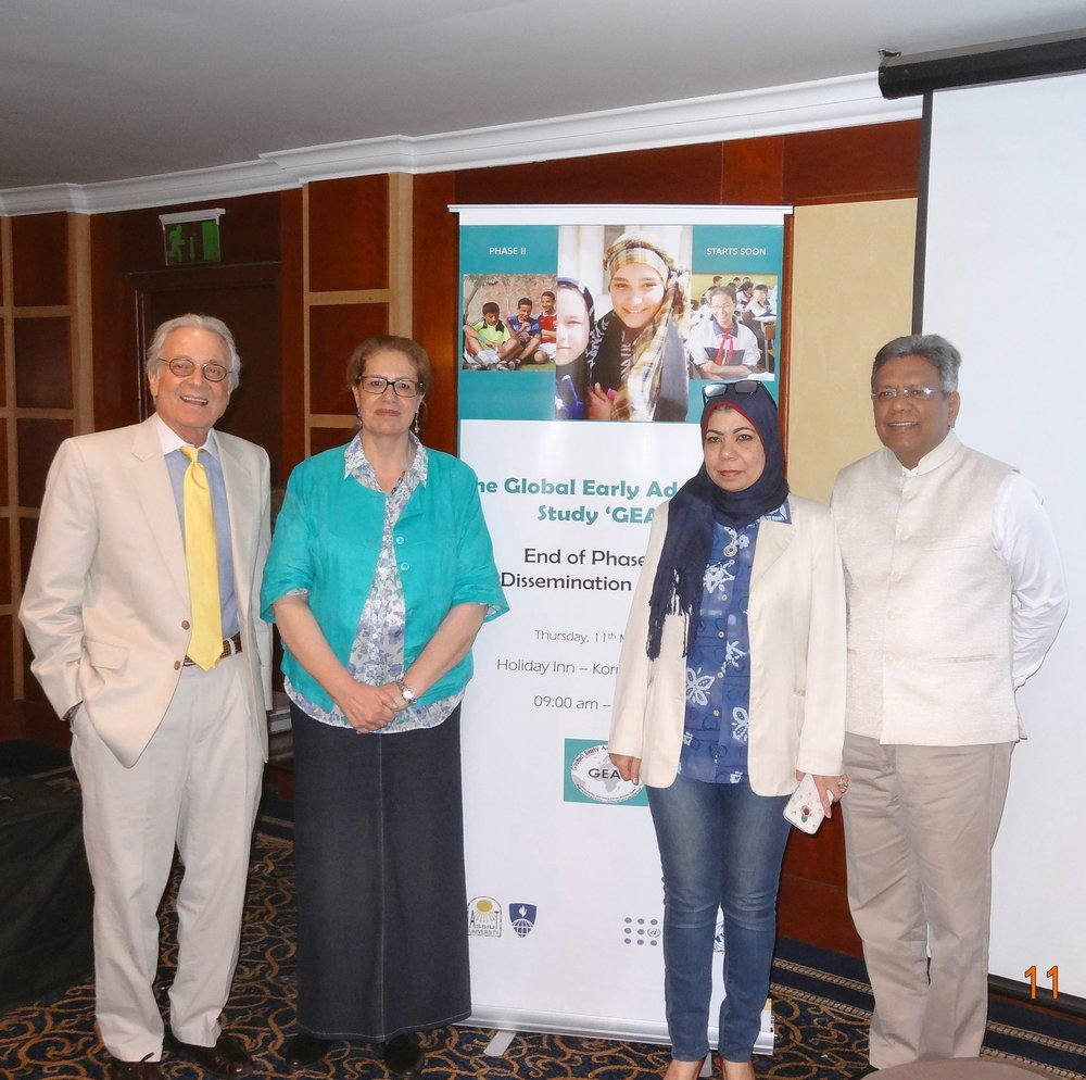 (L-R) Study PI Dr. Blum, Assiut site-PI Dr. El-Gibaly, Assiut field coordinator Dr. Darwish, and WHO partner Dr. Chandra-Mouli at the GEAS dissemination meeting in Cairo, Egypt, May 11, 2017.