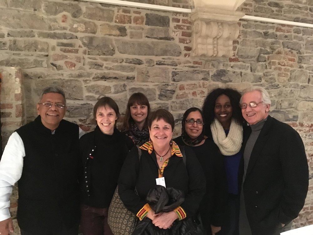 ( Left to right ) V. Chandra Mouli (WHO), Caroline Moreau (JHU), Lucia Knight (UWC), Diane Cooper (UWC), Suraya Mohamed (UWC) Hanani Tabana (UWC), and Robert Blum (JHU) in Ghent, December 2017.