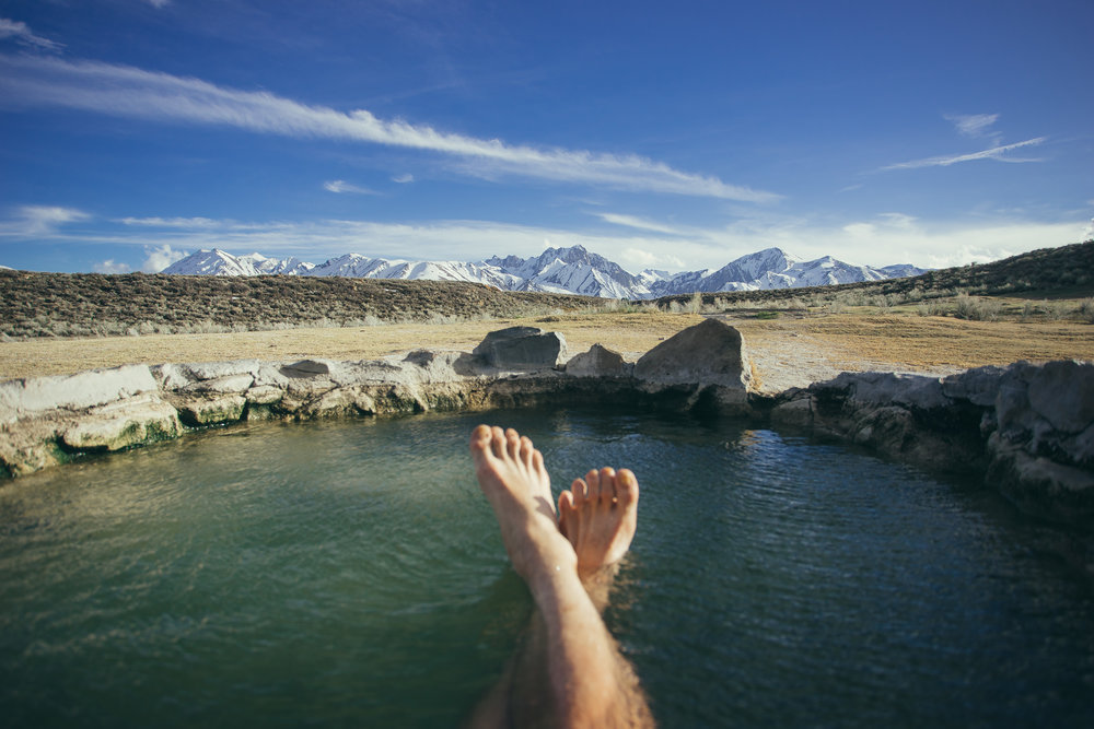 Pre-long haul drive soak outside Mammoth, CA.