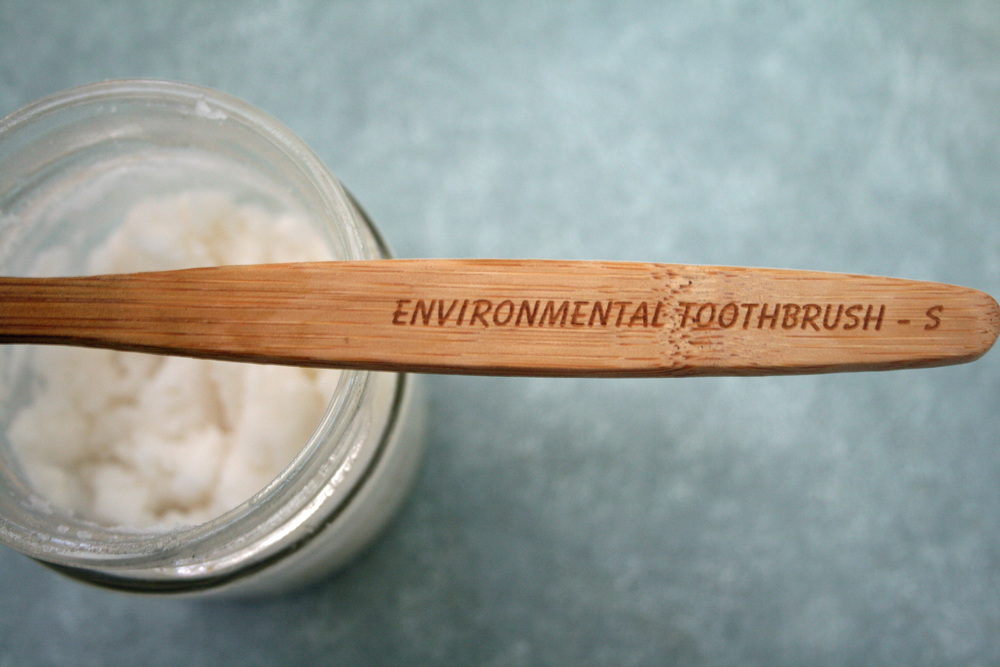 We love our bamboo environmental toothbrush.  It is biodegradable and the bamboo sustainable