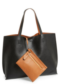 Street Level - Reversible Faux Leather Tote & Wristlet   $48 at Nordstrom