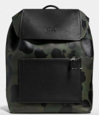 MANHATTAN backpack in military wild beast print leather $695 at Coach