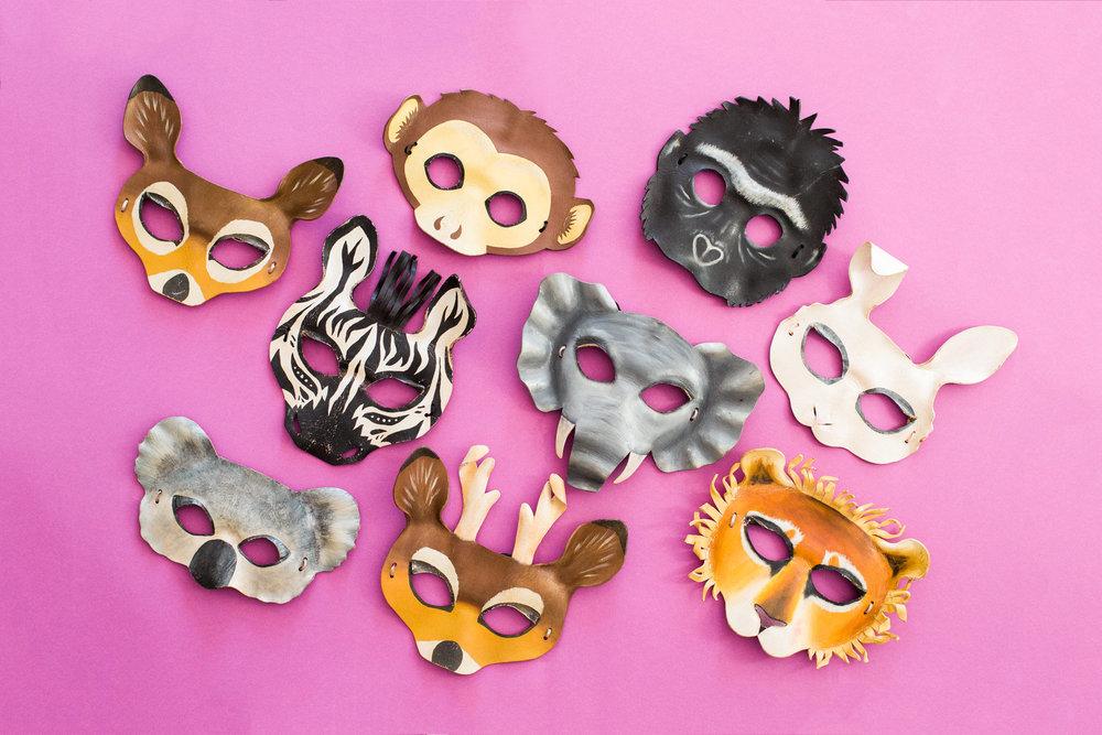 premium-props-for-photo-booth-brisbane-hire-birthday-party-event-leather-animal-masks-gorilla-bunny-monkey-deer-zebra-elephant-koala-lion.jpg