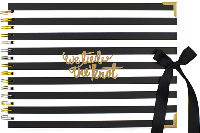 We-Tied-the-Knot-gold-black-white-striped-wedding-album-Modern-Photo-booth-guest-book-photobooth-hire-weddings.jpg