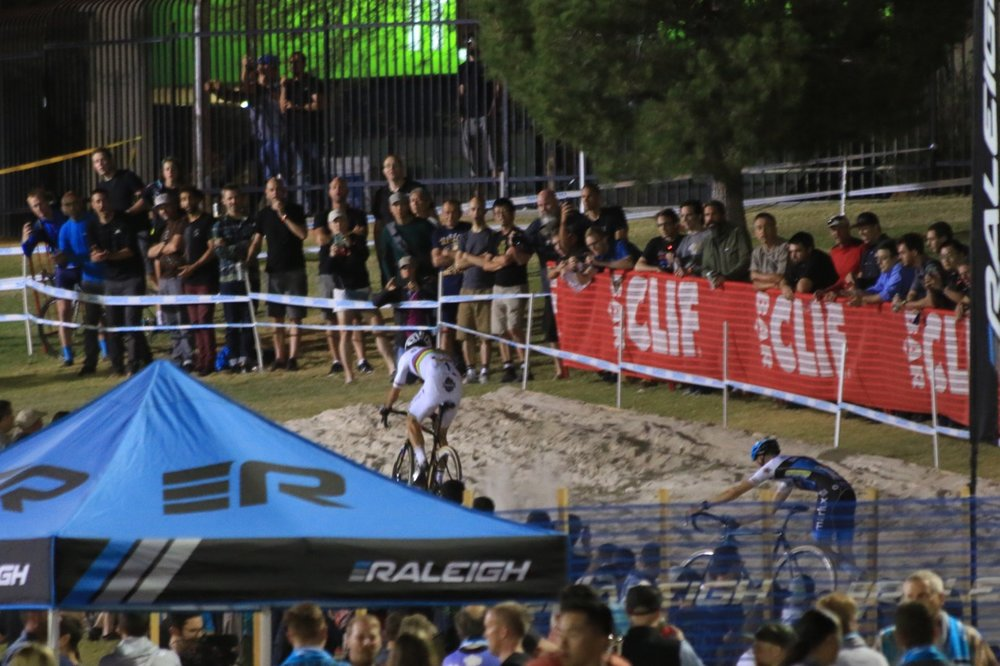 While everyone else had to dismount, Wout powered through the entire sandpit, and thus his winning break began