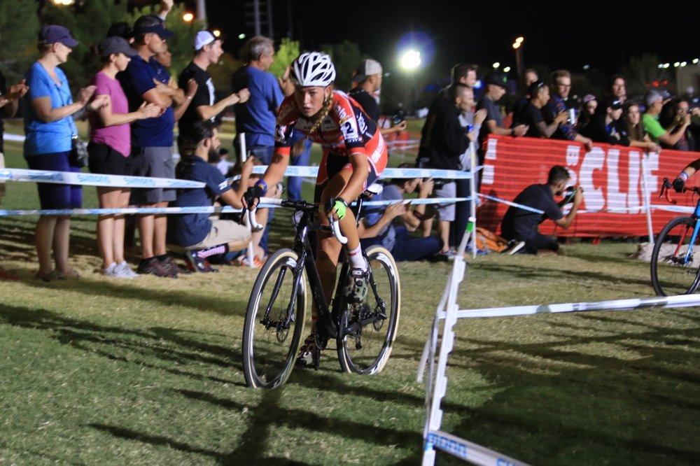 Eventual winner Sophie De Boer gaining distance through the sand pit