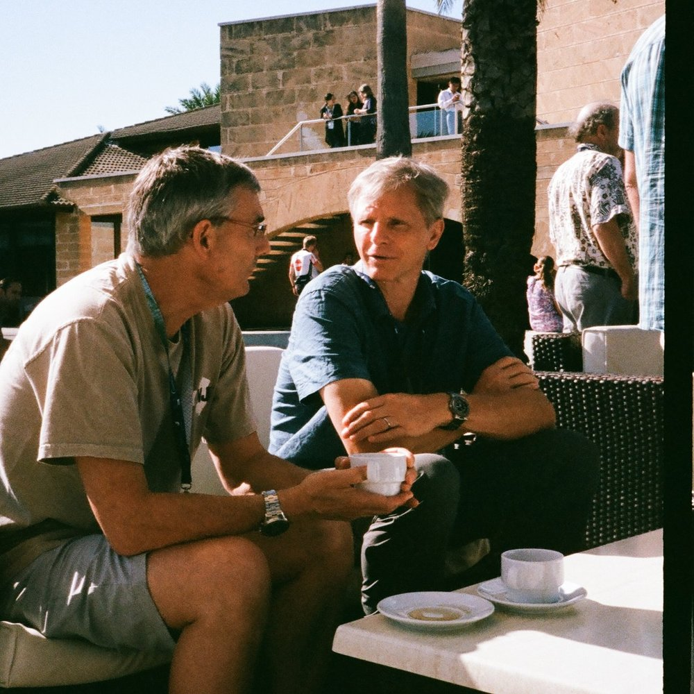 John Wilkin (friendly Rutger faculty) & Eric Chassingnet at the morning break coffee (Spain is magical), two of the founding members of this school.