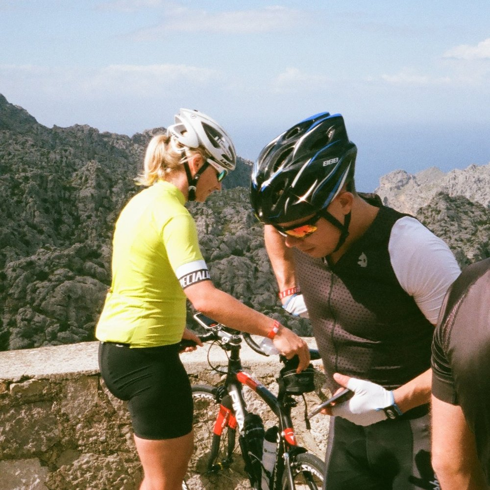 On the road to Sa Calobra, German tourists with much nicer hire bikes.