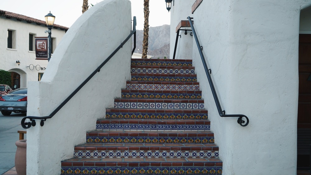 Beautiful spanish tiled staircase.