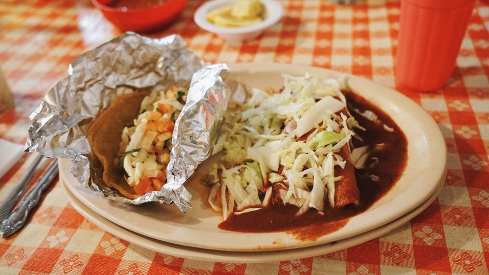 I had a fish taco, and chicken enchilada!