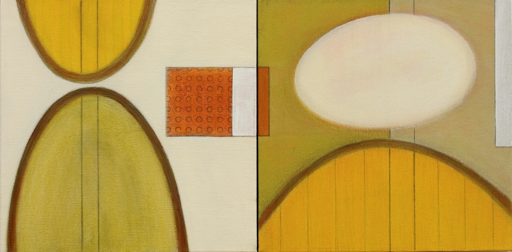 Hovering Ovoid  12 x 24 Diptych  SOLD