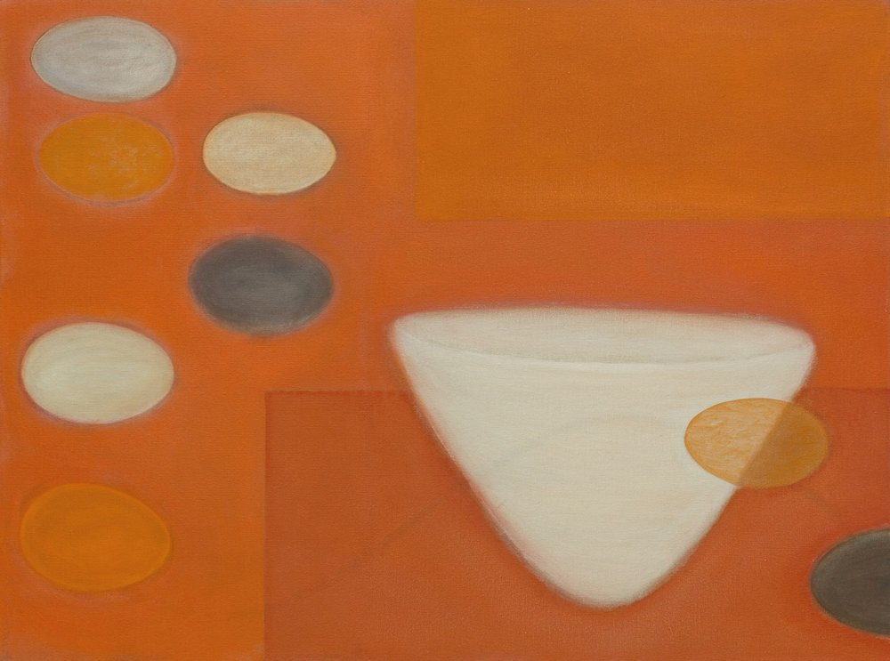 White Vessel with Orange Rectangles  30 x 40