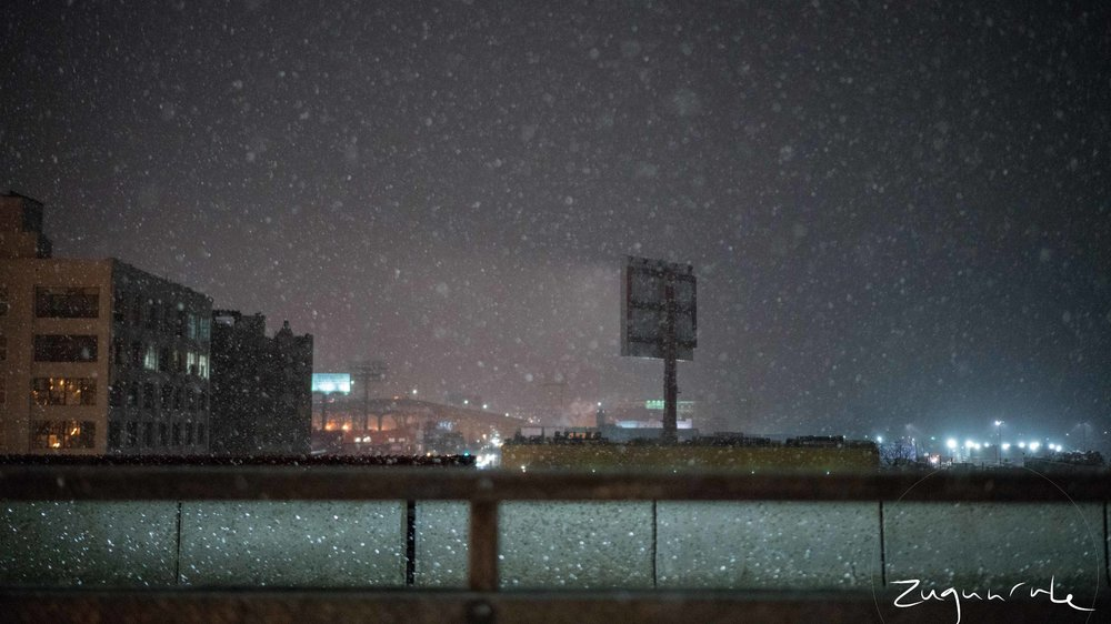 Last December's first snow over the Pulaski Bridge