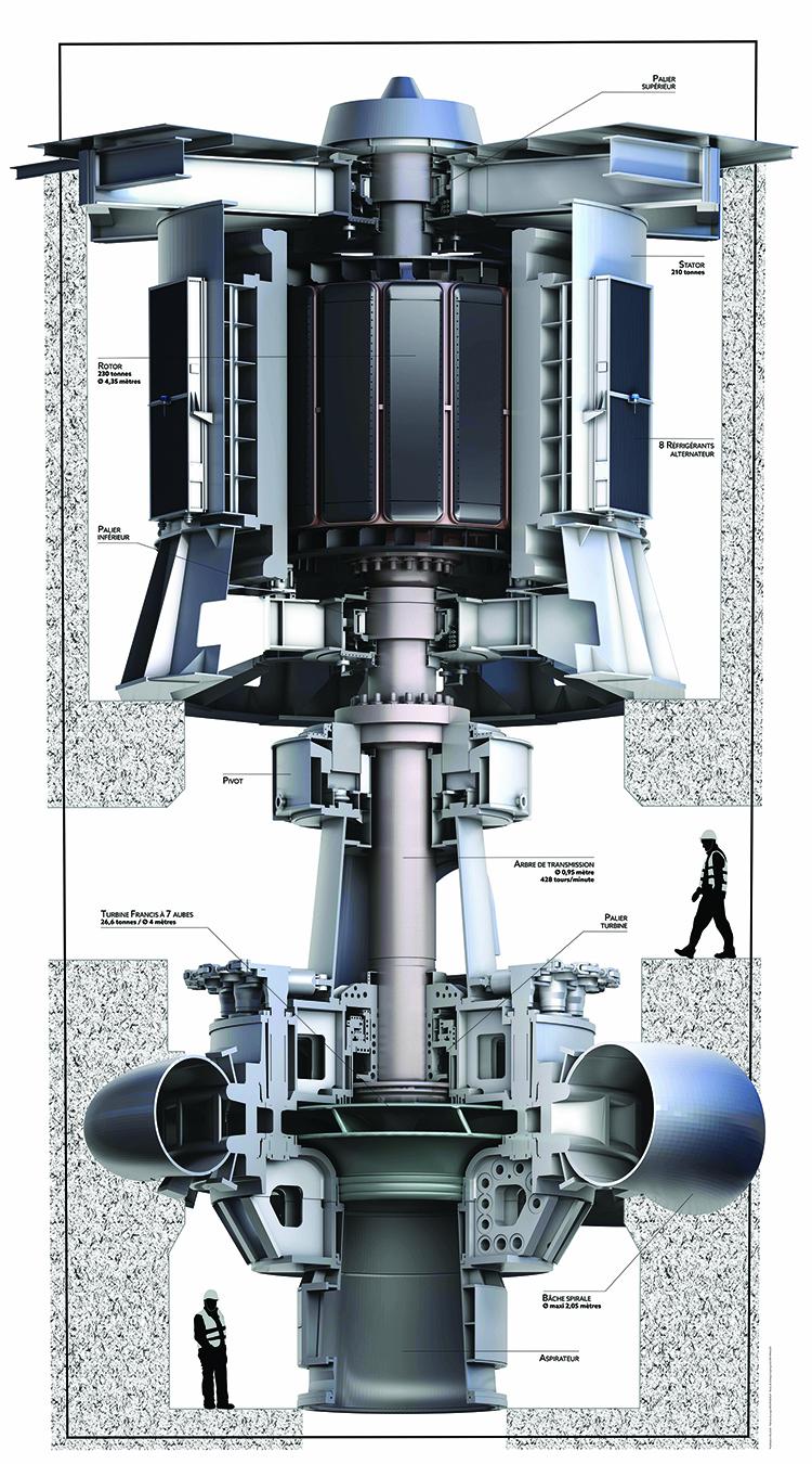 > Rendu 3D photo-réaliste d'une turbine imprimée sur une bâche de 5m x 10m de hauteur, servant de cible pour de la réalité-augmentée