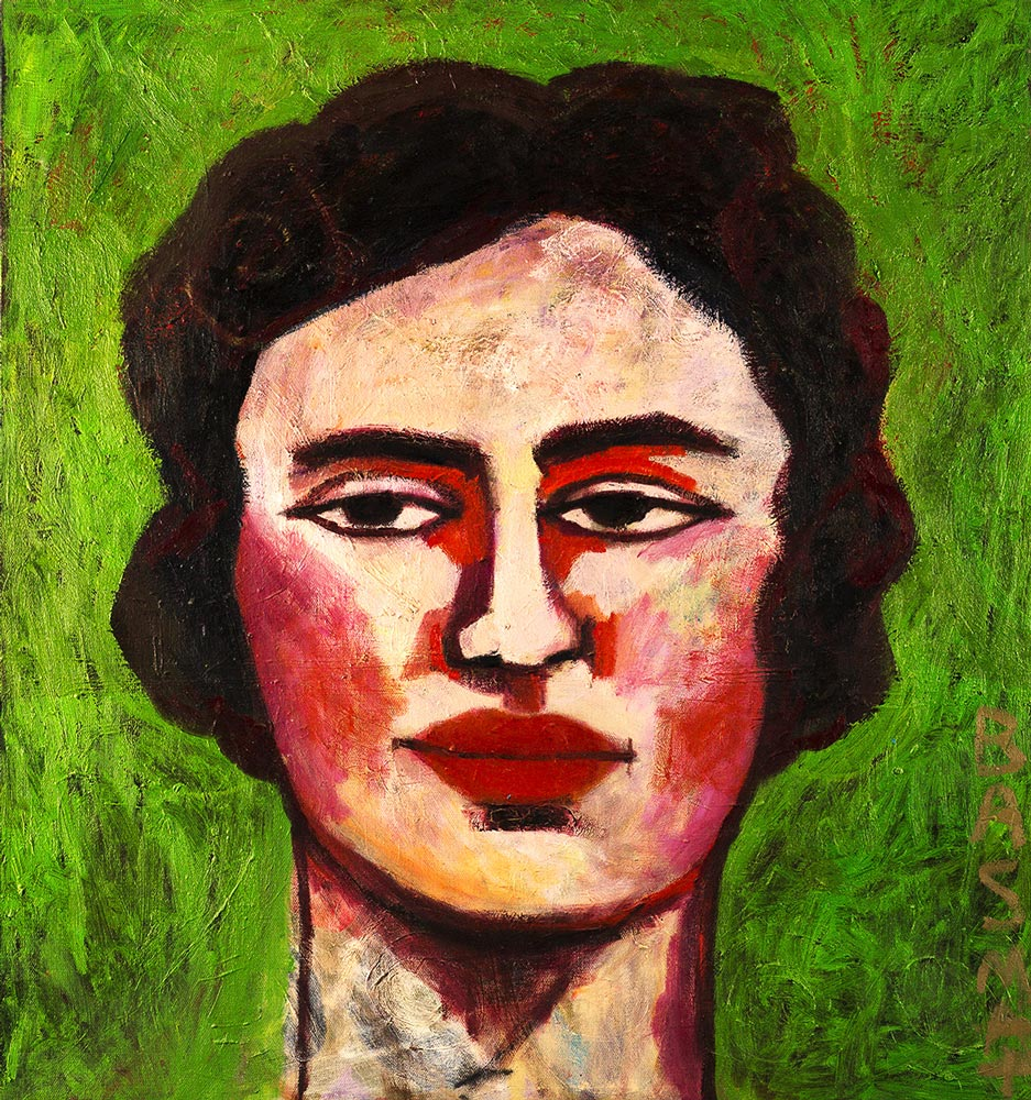 Lady On Green   -   120cm x 130cm, Oil on Canvas