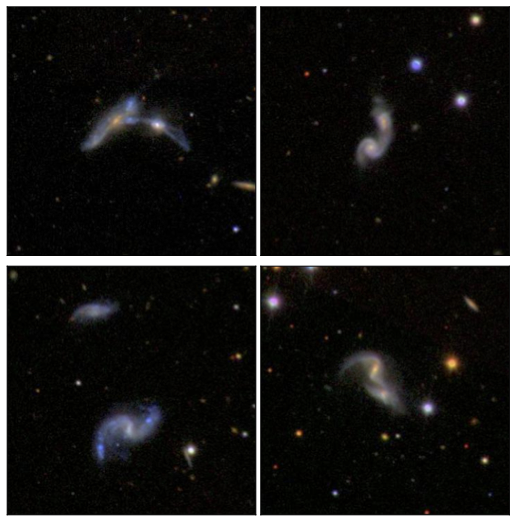 4 sets of interacting galaxies from the Sloan Digital Sky Survey Data Release 7.  These galaxies are part of the sample of  Scudder et al. (2012b) .