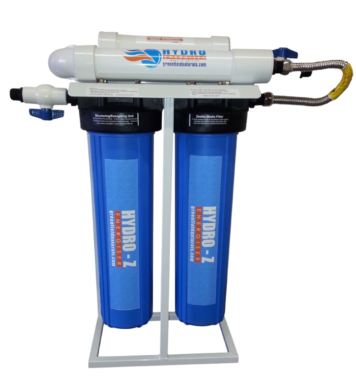 This is a  U-Tube   Hydro Energizer outfitted with Big Blue filters.  The U-Tube Hydro Energizer sits on top of the main frame combining the power of two structuring units into one.