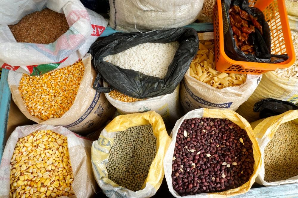 Grains, corn, and beans