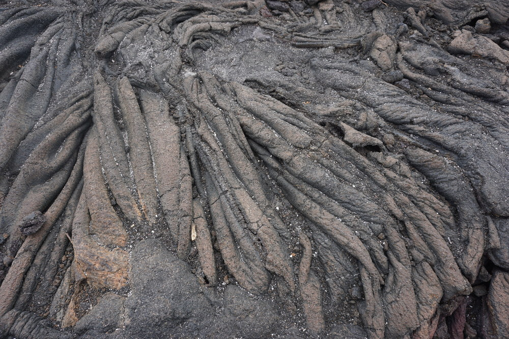 Ropes of cooled lava