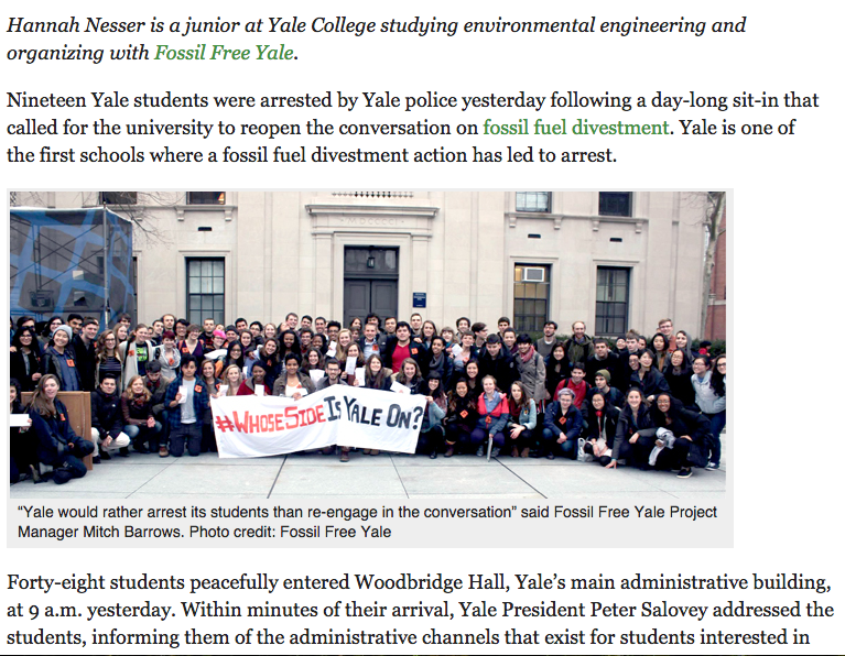19 Students Arrested by Yale Police at Fossil Fuel Divestment Sit-I
