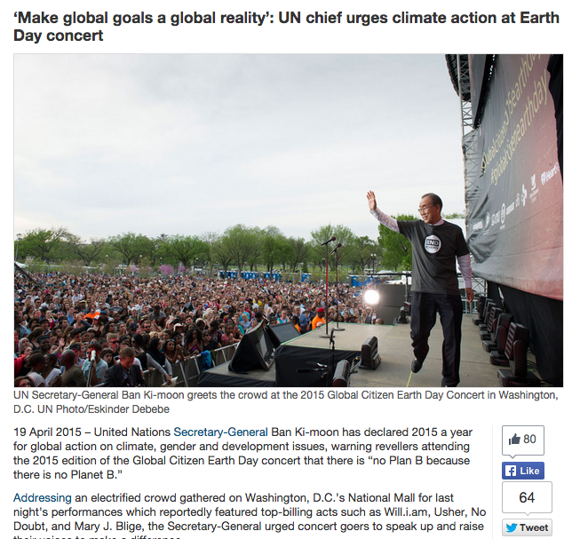 'Make global goals a global reality': UN chief urges climate action at Earth Day Concert
