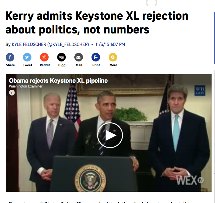 Kerry admits Keystone XL rejection about politics, not numbers