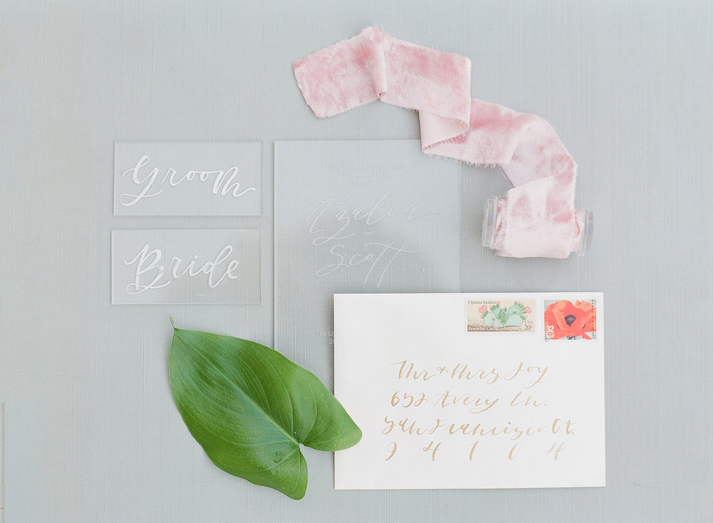 Gorgeous bright silk velvet ribbons and calligraphy