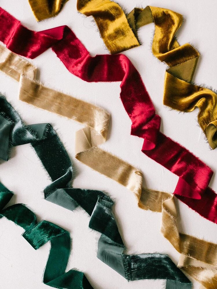 Silk Velvet Ribbons perfect for winter and holiday event, wedding, and scrapbooking design