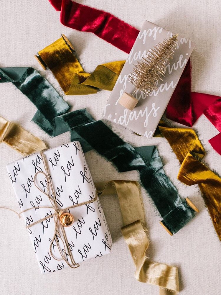 Silk velvet ribbons for gift wrapping ideas