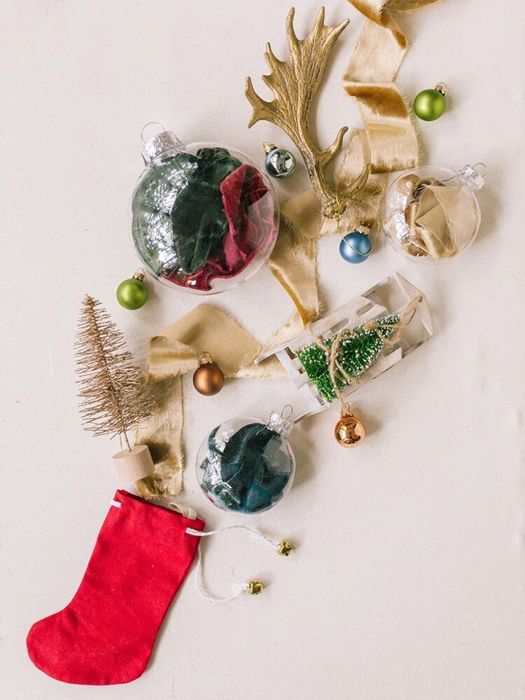 Silk Velvet Ribbons for Christmas and Holiday Decorations and Flatlays