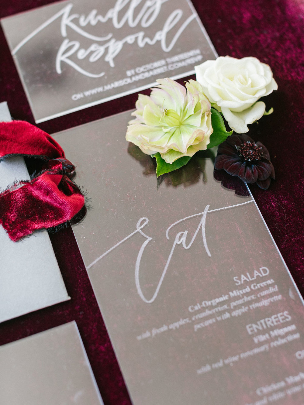 Red silk velvet ribbons for wedding invitations