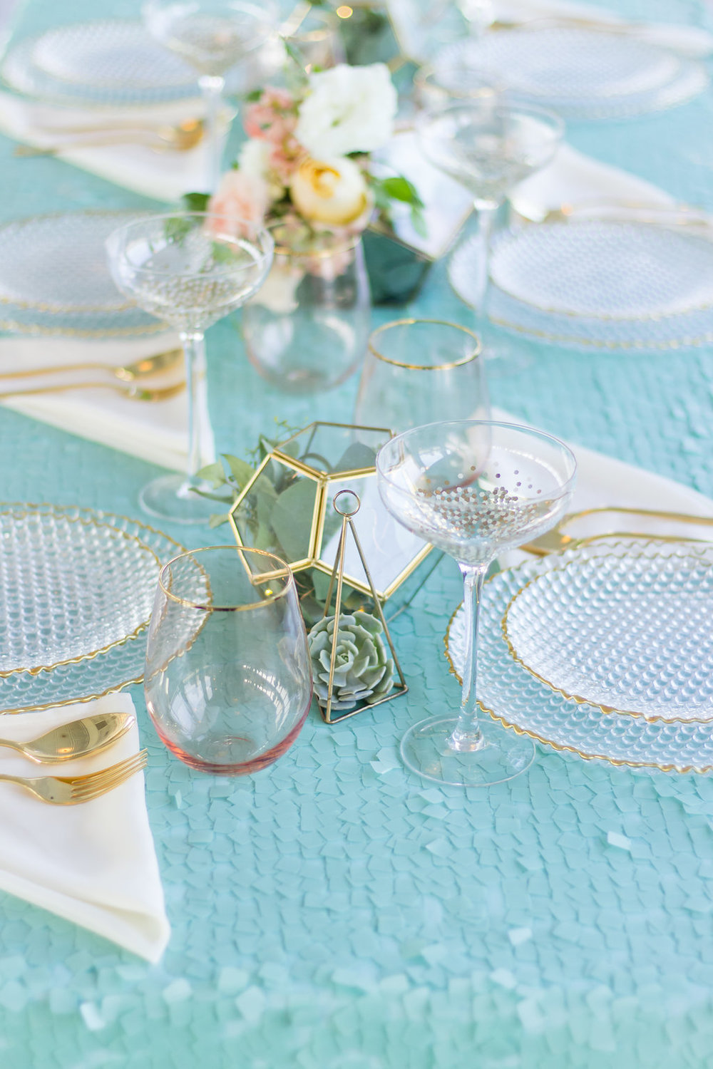 Pretty Pastel teal color wedding tablescape (Photo by: Monica Krystal Photography)