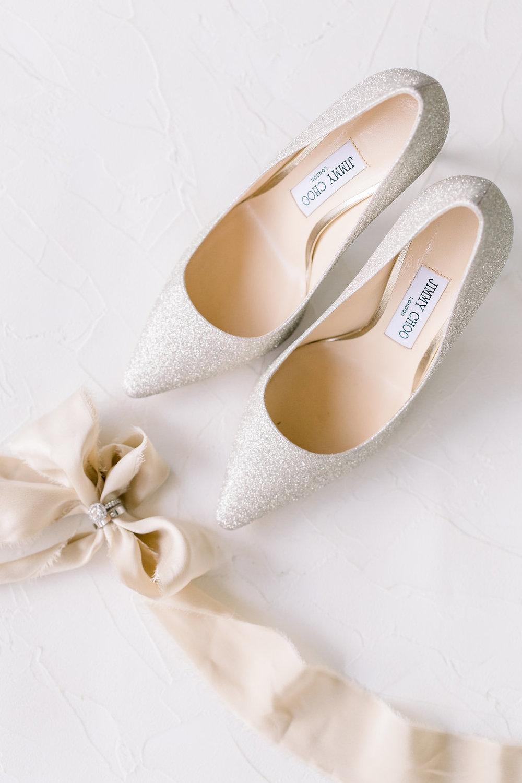 Jimmy Choo Luxury Wedding Shoes and Silk Ribbon Flatlay