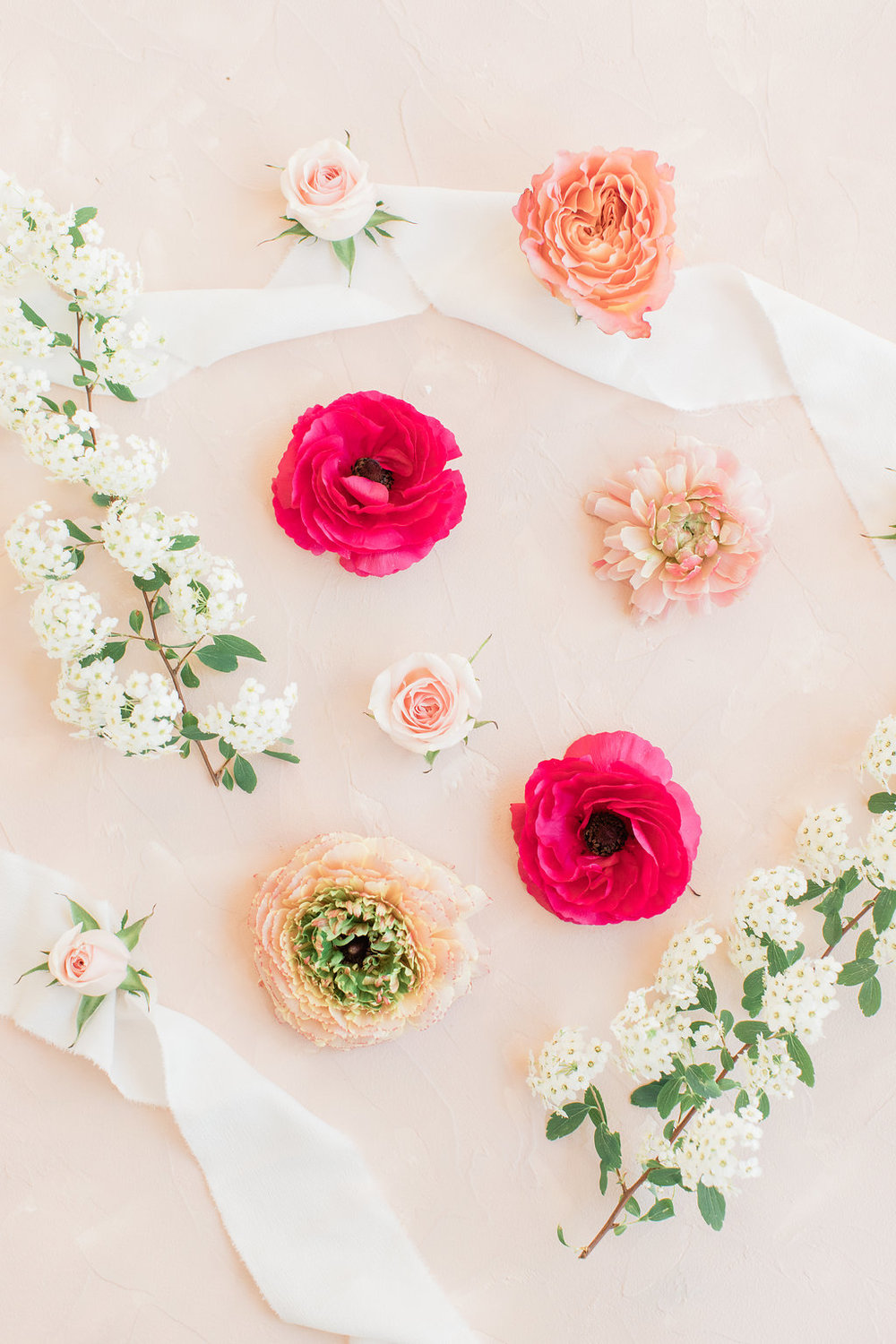Beautiful Floral Flatlay Photography with Silk Ribbons