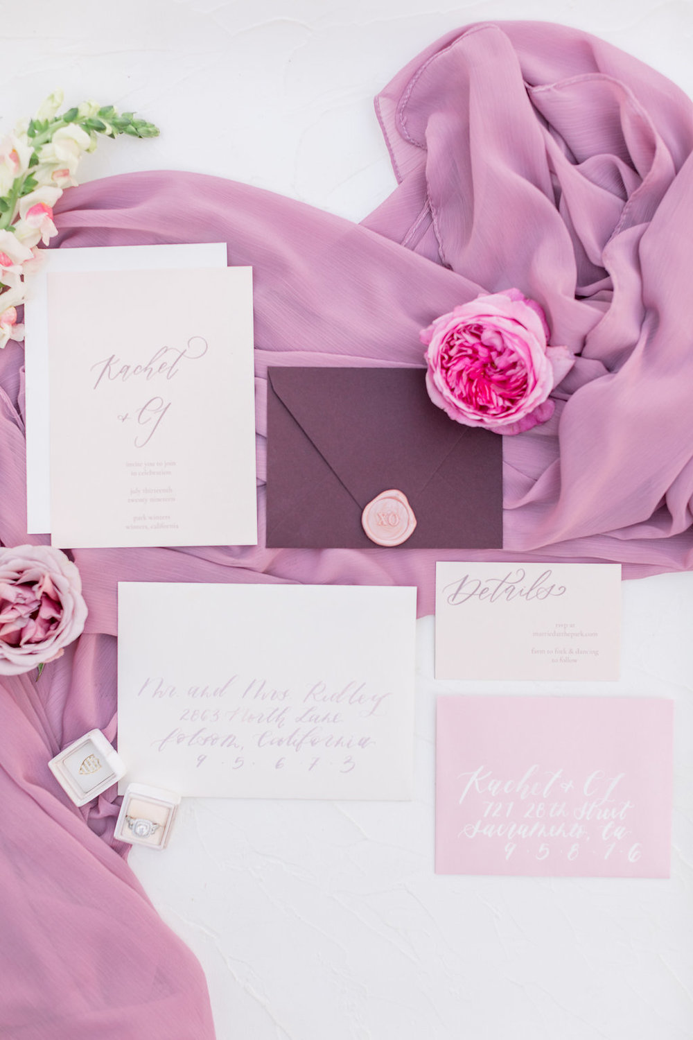 Wedding Invitations Calligraphy Ideas and Fuschia Pink Flatlay inspo