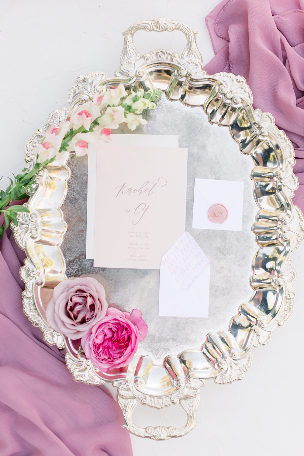Linens for wedding Invitation Flatlay Photography Idea
