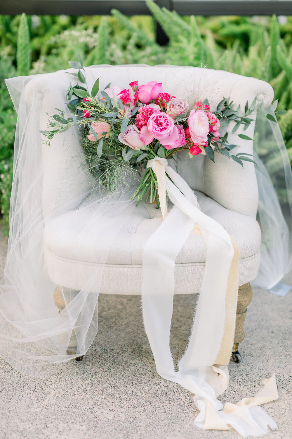 Pink Bridal bouquet with long silk Ribbons